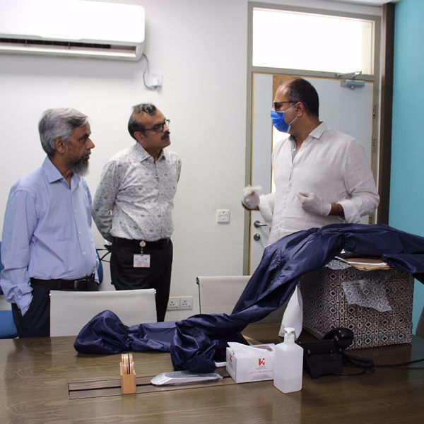 Picture of The Maestro does his part to help Indus Hospital in the fight against COVID-19 by donating reusable, water & air proof PPE suits to healthcare staff.